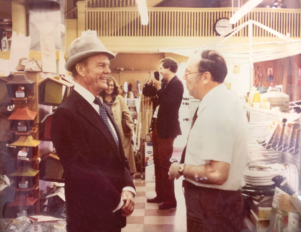 Paul Harvey talking with Harold's father, Joseph, at the hardware store. Paul Harvey was a spokesperson for True Value. Submitted Photo.