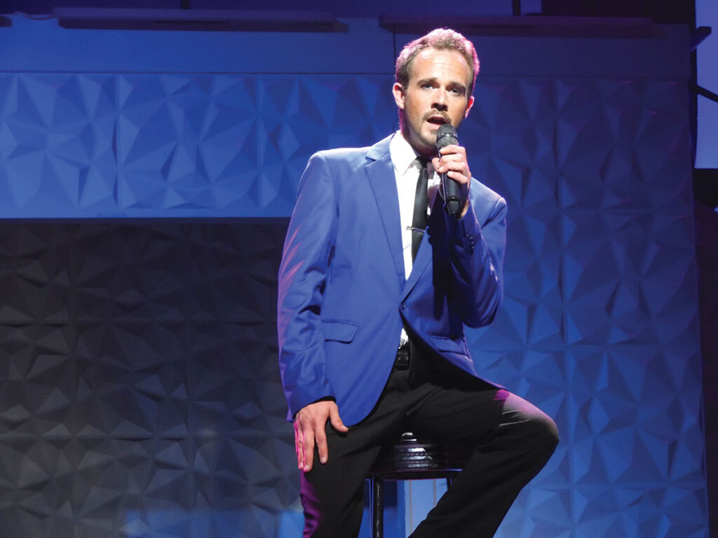 Brian Caraker performing at King's Castle Theatre in Branson, Missouri. Photo by Terry Ropp.