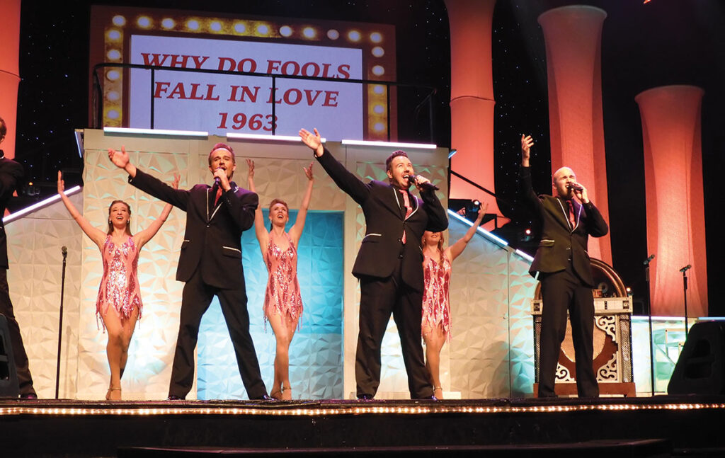 Brian Caraker, front left, performing at the King's Castle Theater in Branson, Missouri. Photo by Terry Ropp.