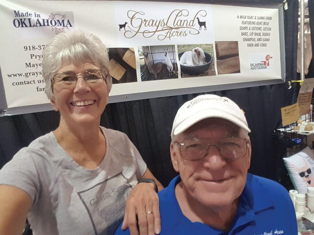Steve and Myra Grayson at their booth for Grays Lland Acres. Submitted Photo.