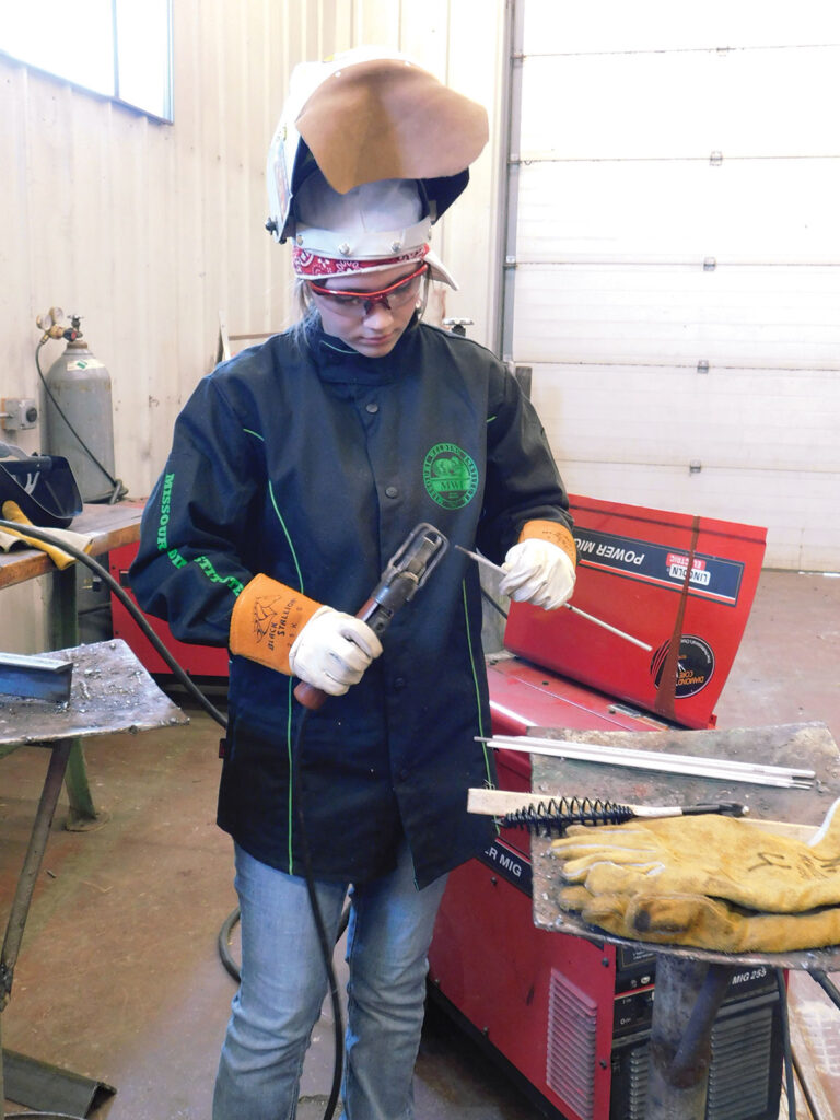Brooklyn Foreman getting ready to work on a welding project for FFA. Submitted Photo.