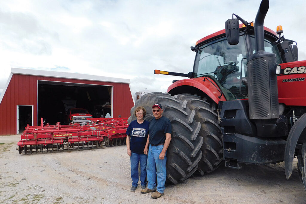 Jim and Ronda Hardin started with 80 acres, a two-row planter and a pull-type combine. Today, the operation has about 1,200 acres of corn, 1,500 acres of beans and 500 acres of wheat, in addition to a cow/calf operation.  Photo by Neoma Foreman.
