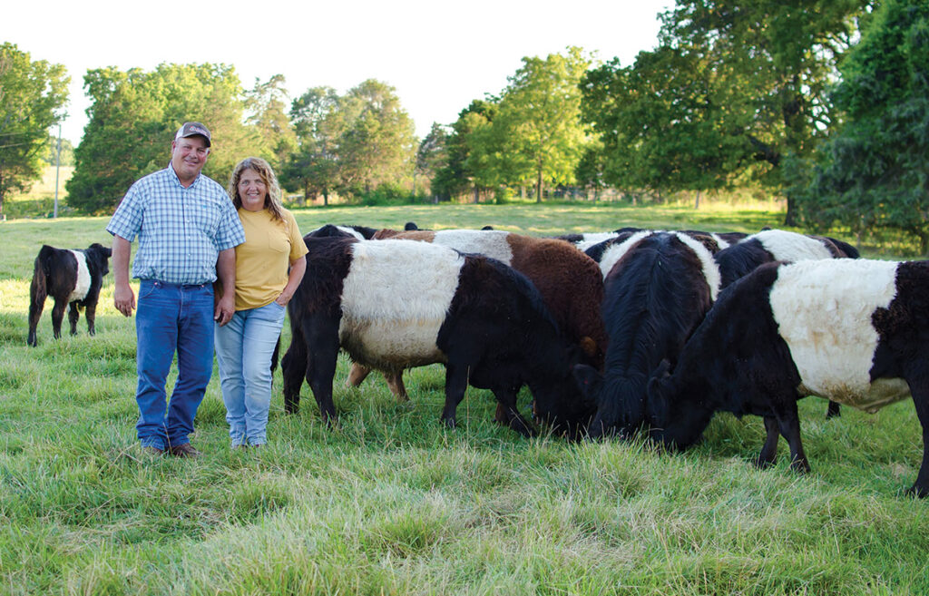 Loy and Mary Galloway have been raising Belted Galloway cattle for about two decades. Photo by Ashley Wilson.