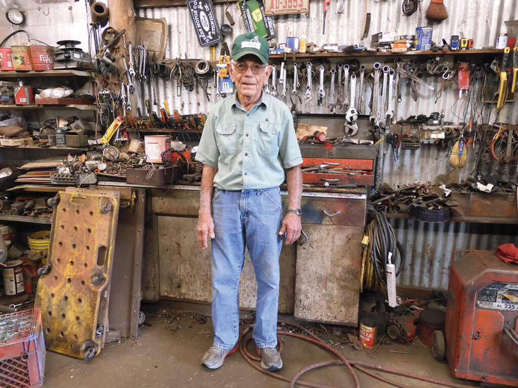 Clarence Woodward of Stilwell, Oklahoma is well know for fixing things. He he was a young boy and fixed a television he earned the nickname fix-it witch. Photo by Terry Ropp.