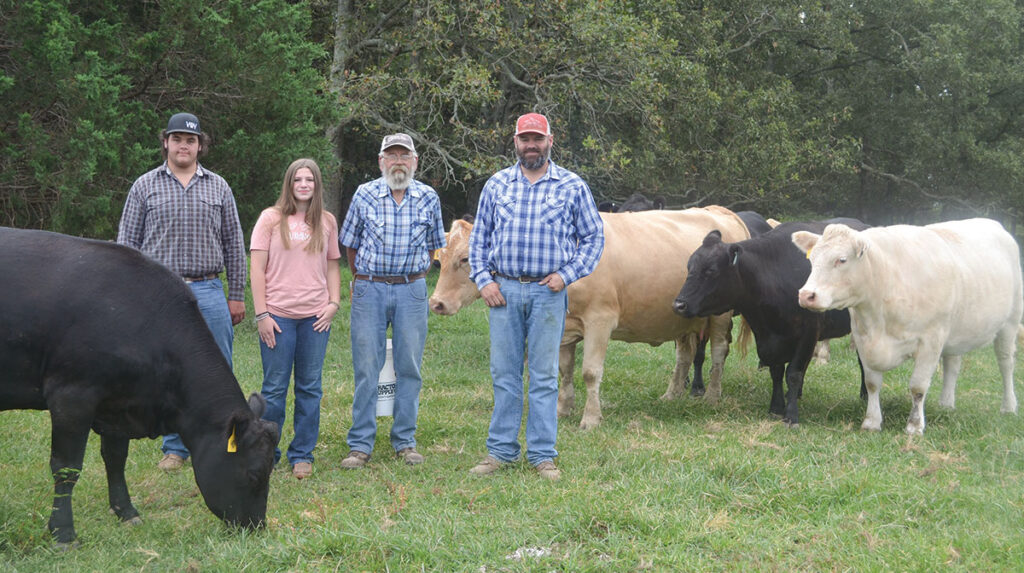 The Wrinkle family has been raising cattle for more than 100 years in Laclede County, Mo. Pictured, from left, are Thomas, Addalynne, Tom and Aaron Wrinkle. Photo by Laura L. Valenti