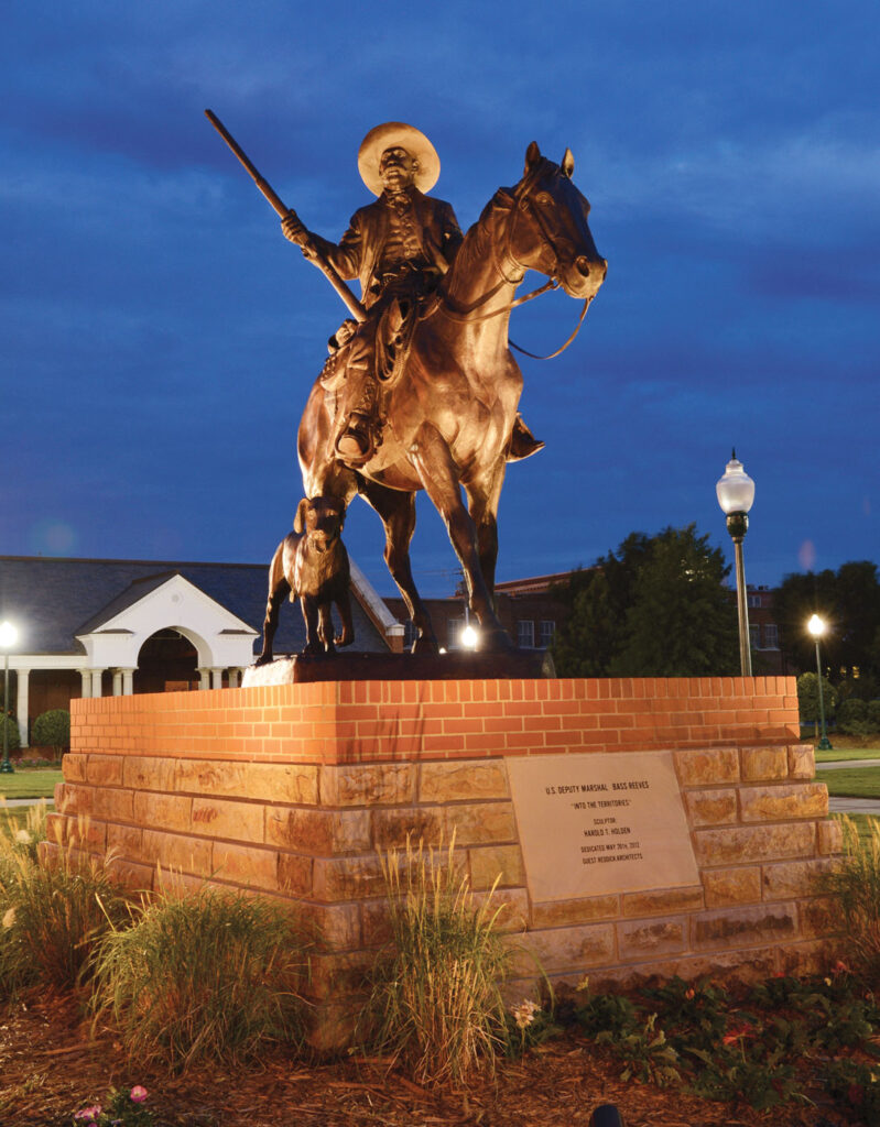 Monument of Bass Reeves at night. Submitted Photo.