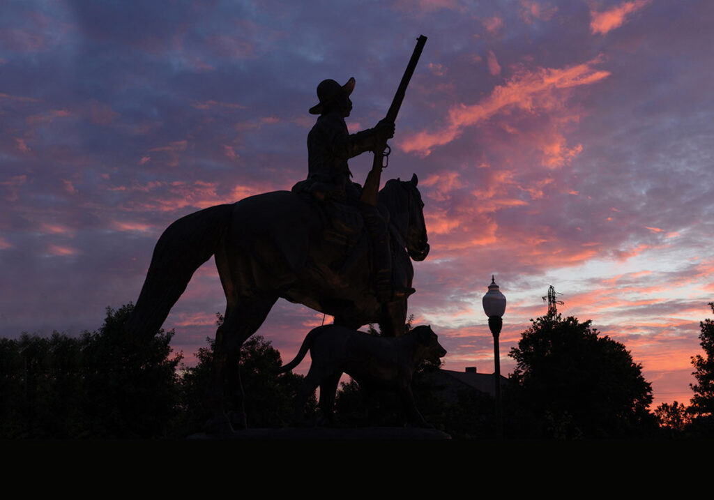 Monument of Bass Reeves at Sunset. Submitted Photo.