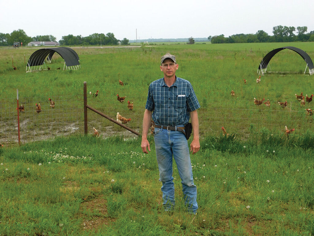Paul Schneider and his family have an egg operation, as well as organic crops. Photo by Neoma Foreman.